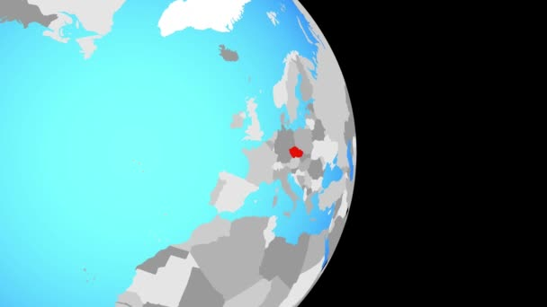 Closing in on Czech republic on simple political globe. 3D illustration.