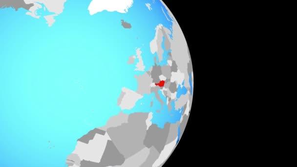 Uzavření v Rakousko na jednoduché politické globe. 3D obrázek.