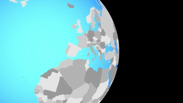 Closing in on Kosovo on simple political globe. 3D illustration.
