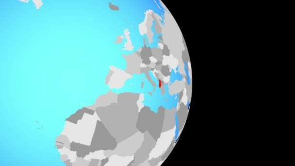 Closing in on Albania on simple political globe. 3D illustration.