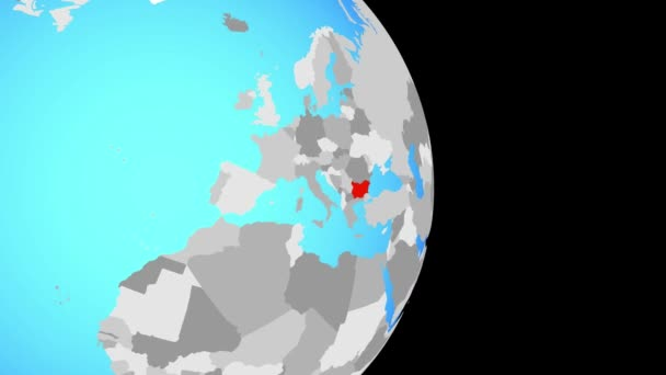 Closing in on Bulgaria on simple political globe. 3D illustration.