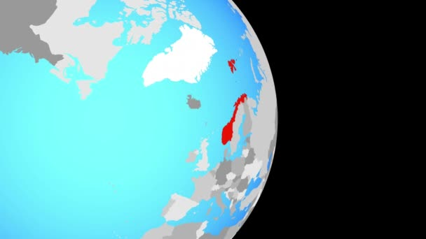 Closing in on Norway on simple political globe. 3D illustration.