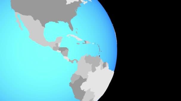 Avvicinando a Caraibi sul globo politico semplice. illustrazione 3D