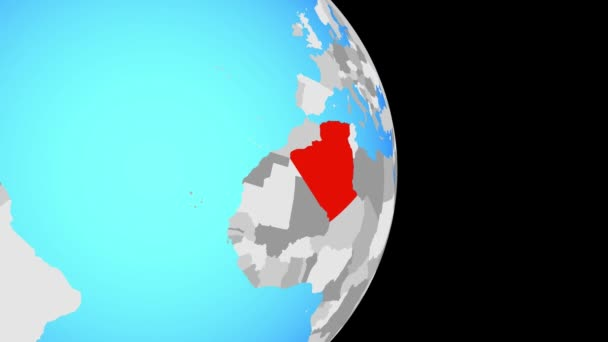 Closing in on Algeria on simple political globe. 3D illustration.