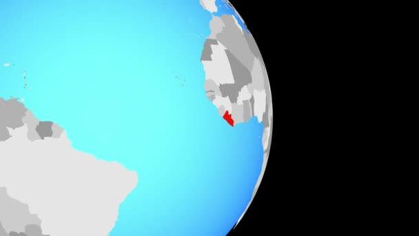 Closing in on Liberia on simple political globe. 3D illustration.