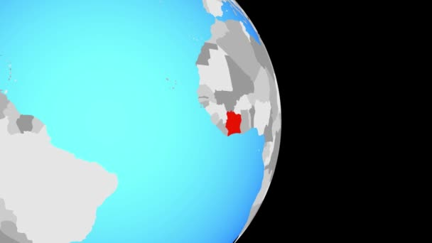 Closing in on Ivory Coast on simple political globe. 3D illustration.
