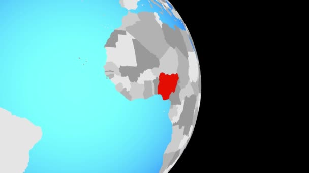 Closing in on Nigeria on simple political globe. 3D illustration.