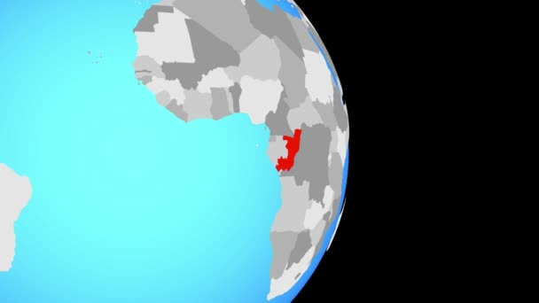 Closing in on Congo on simple political globe. 3D illustration.