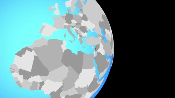 Closing in on Lebanon on simple political globe. 3D illustration.