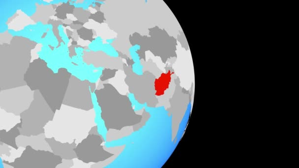 Closing in on Afghanistan on simple political globe. 3D illustration.
