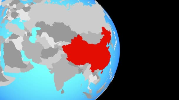 Closing in on China on simple political globe. 3D illustration.