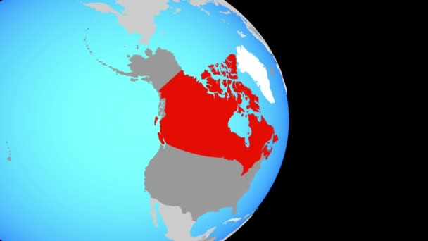 Closing in on Canada on simple political globe. 3D illustration.