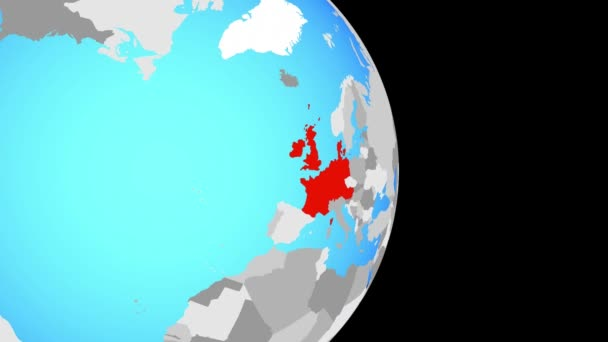 Closing in on Western Europe on simple political globe. 3D illustration.