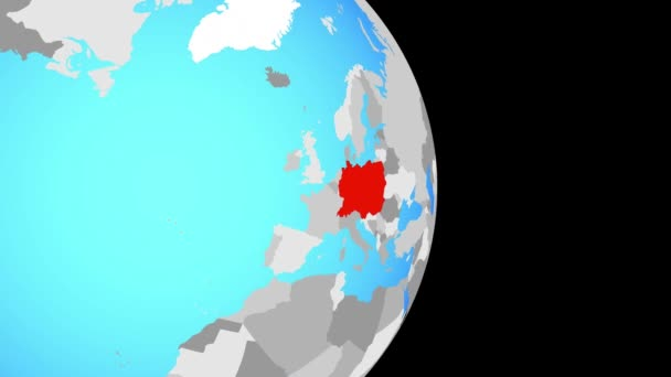 Closing in on Central Europe on simple political globe. 3D illustration.