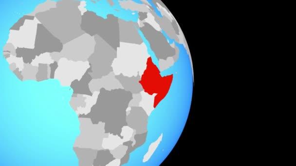 Uzavření v na afrického na jednoduché politické globe. 3D obrázek.