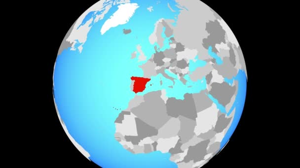 Zoom to Spain on blue political globe. 3D illustration.