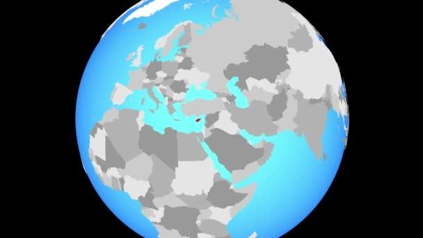 Změní zvětšení na Kypr na modré politické globe. 3D obrázek.