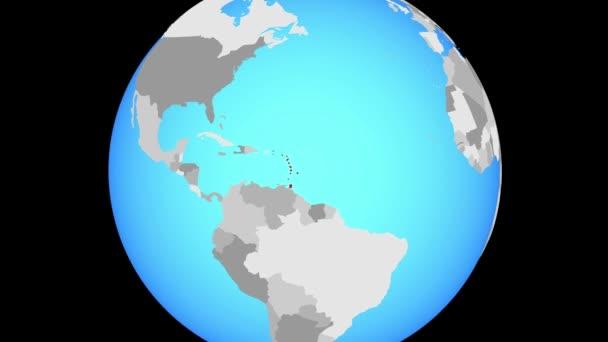 Zoom per Caraibi sul globo blu politico. illustrazione 3D