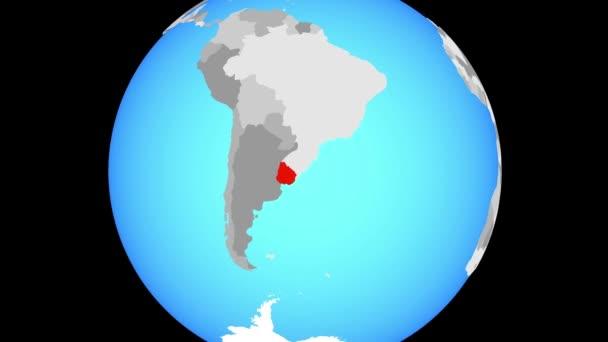 Zoom to Uruguay on blue political globe. 3D illustration.