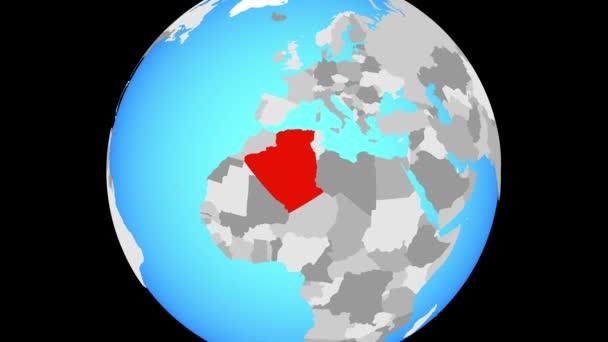 Zoom to Algeria on blue political globe. 3D illustration.