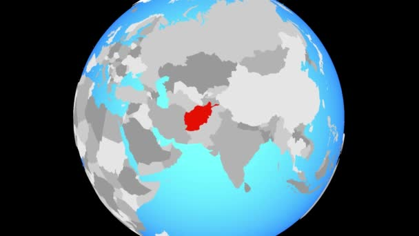 Zoom to Afghanistan on blue political globe. 3D illustration.