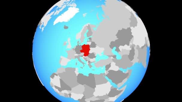 Změní zvětšení na Visegrádské skupiny na modré politické globe. 3D obrázek