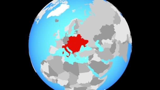 Změní zvětšení na ČIŽP zemí na modré politické globe. 3D obrázek.