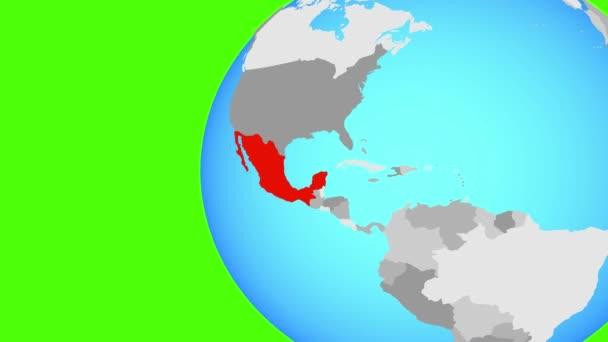Mexiko na modré politické globe. Obíhající kolem zeměkoule a přiblížení k zemi. 3D obrázek