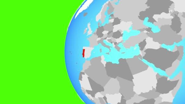 Portugalsko na modré politické globe. Obíhající kolem zeměkoule a přiblížení k zemi. 3D obrázek