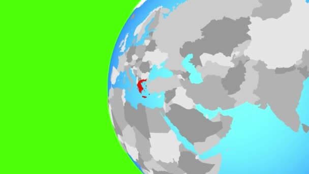 Greece on blue political globe. Orbiting around globe and zooming to the country. 3D illustration.