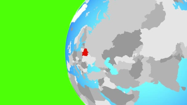 Belarus on blue political globe. Orbiting around globe and zooming to the country. 3D illustration.