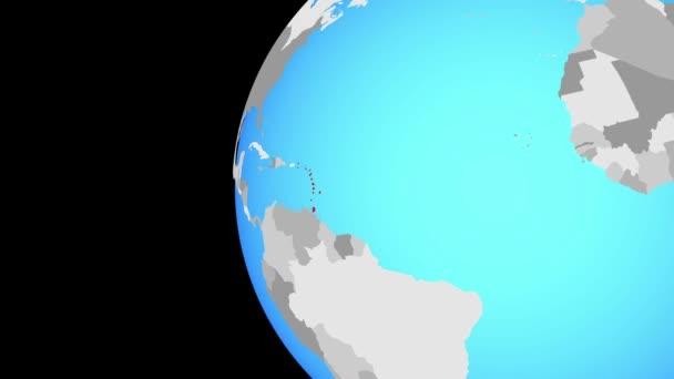 Caraibi su globo blu politico. Orbitanti intorno a globo e lo zoom per il paese. illustrazione 3D