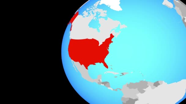 United States on blue political globe. Orbiting around globe and zooming to the country. 3D illustration.