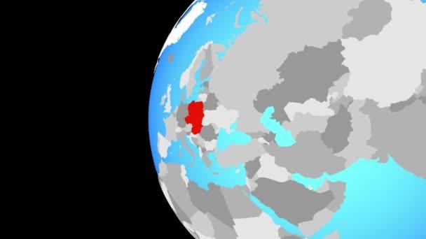Visegrádská skupina na modré politické globe. Obíhající kolem zeměkoule a přiblížení k zemi. 3D obrázek