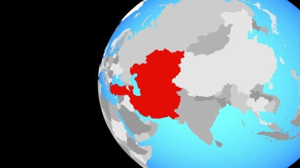 Eco členské státy na modré politické globe. Obíhající kolem zeměkoule a přiblížení k zemi. 3D obrázek