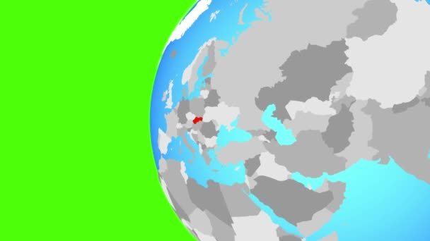 Slovakia on blue political globe. Orbiting around globe and zooming to the country. 3D illustration.