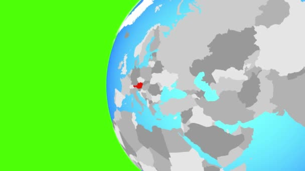 Austria on blue political globe. Orbiting around globe and zooming to the country. 3D illustration.