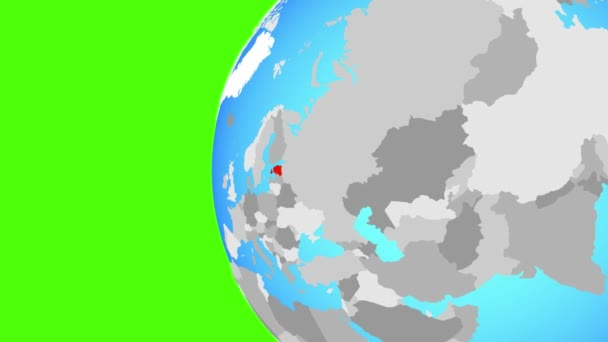 Estonia on blue political globe. Orbiting around globe and zooming to the country. 3D illustration.