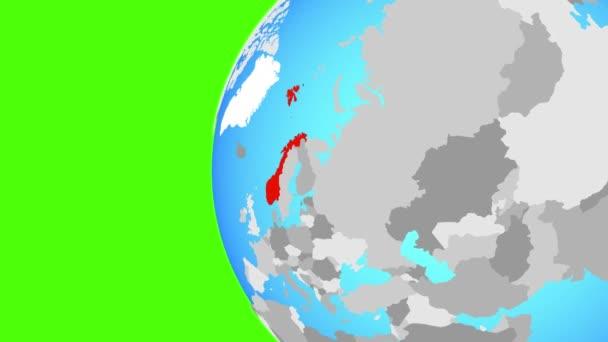 Norsko na modré politické globe. Obíhající kolem zeměkoule a přiblížení k zemi. 3D obrázek