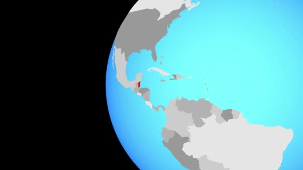 Belize on blue political globe. Orbiting around globe and zooming to the country. 3D illustration.