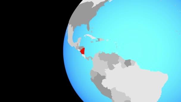 Nicaragua il globo blu politico. Orbitanti intorno a globo e lo zoom per il paese. illustrazione 3D.