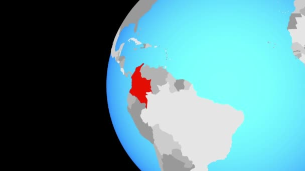 Colombia on blue political globe. Orbiting around globe and zooming to the country. 3D illustration.