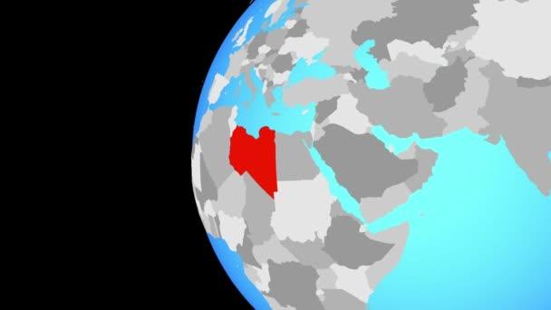 Libyen auf blauen politischen Welt. Globus umkreisen und Zoomen auf dem Land. 3D illustration.