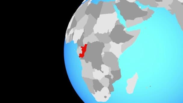 Kongo modrá politické zeměkouli. Obíhající kolem zeměkoule a přiblížení k zemi. 3D obrázek