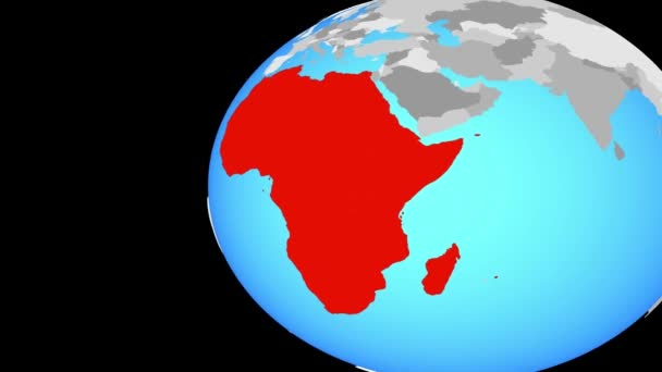 Afrika na modré politické globe. Obíhající kolem zeměkoule a přiblížení k zemi. 3D obrázek
