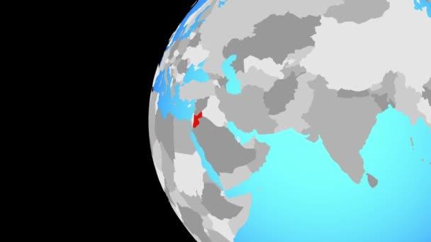 Jordan am blauen politischen Welt. Globus umkreisen und Zoomen auf dem Land. 3D illustration.