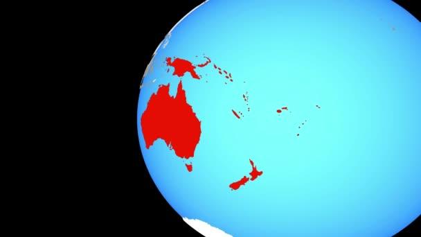 Austrálie na modré politické globe. Obíhající kolem zeměkoule a přiblížení k zemi. 3D obrázek