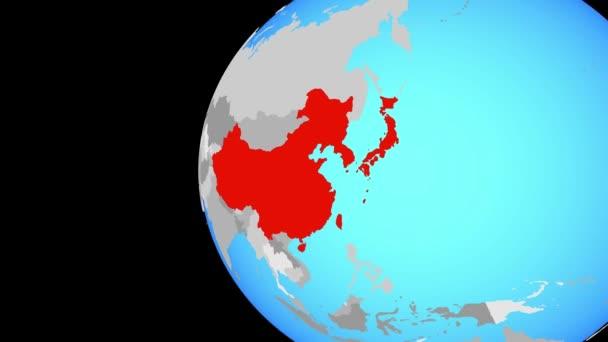 Ostasien auf blauen politischen Welt. Globus umkreisen und Zoomen auf dem Land. 3D illustration.