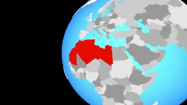 Maghreb region on blue political globe. Orbiting around globe and zooming to the country. 3D illustration.