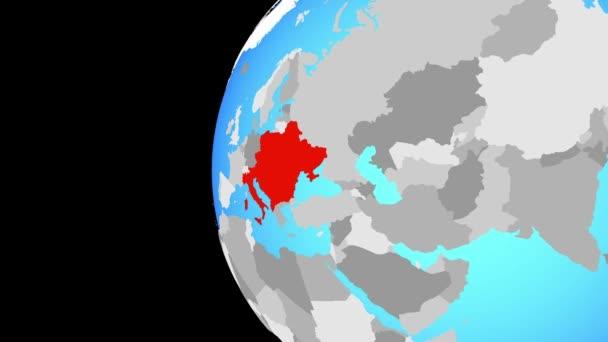 Paesi CEI il globo blu politico. Orbitanti intorno a globo e lo zoom per il paese. illustrazione 3D.